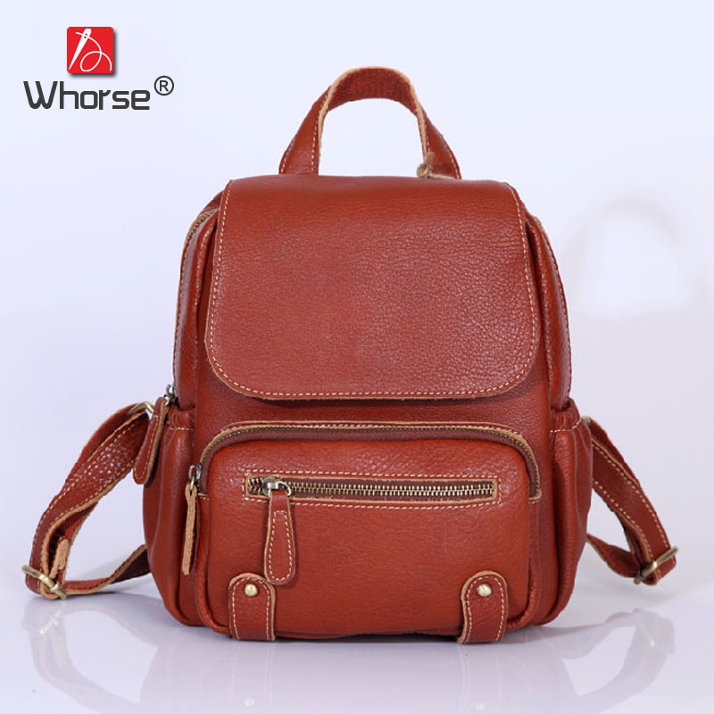 цена на Top Cowhide Vintage Casual Womens Backpack Daypack Backpacks Ladies Travel Bags Genuine Leather Back Pack For Women W092653