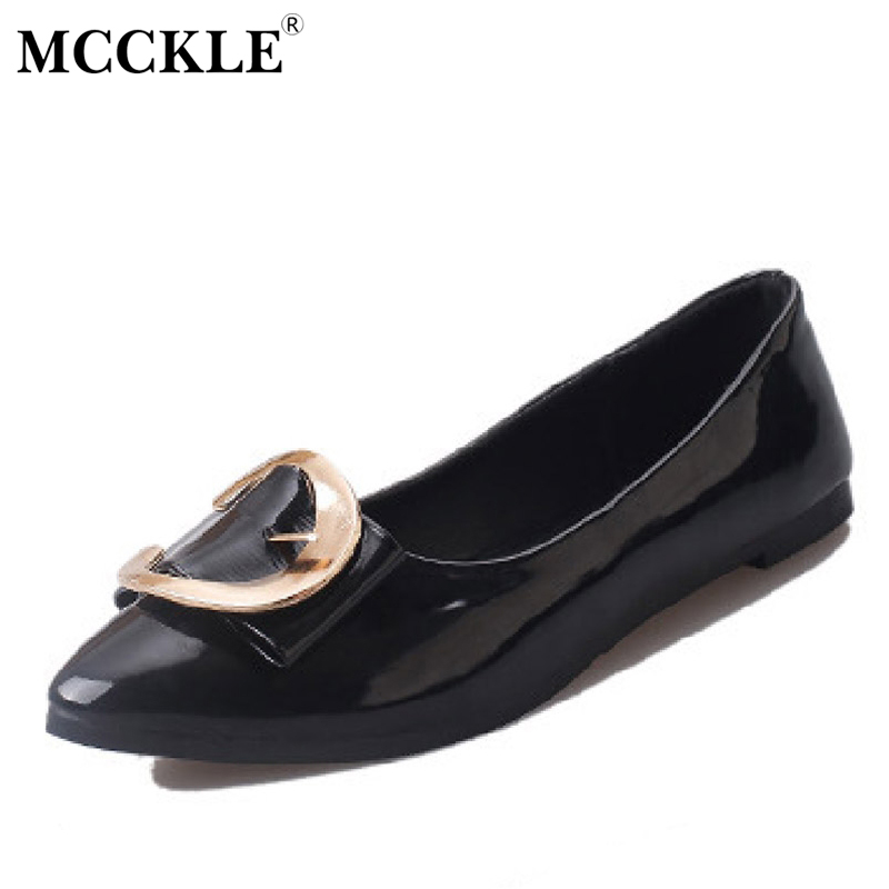 MCCKLE 2017 Women Shoes Woman Flat Pointed Toe Black Sequined Slip-On Casual Comfortable Patent Leather Plus Size 34-40 women flats slip on casual shoes 2017 summer fashion new comfortable flock pointed toe flat shoes woman work loafers plus size