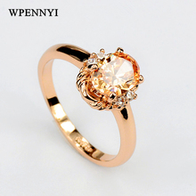 Top Quality Champagne Zirconia Crystal Erstwhile Memory Delicate Women Finger Rings Wholesale Birthday Gifts