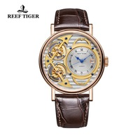 2018 New Reef Tiger Designer Fashion Watches Genuine Leather Band Luxury Rose Gold Automatic Watches RGA1995