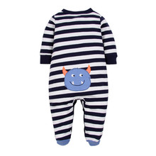 Baby Boy Footies Sleepwear Button Front Soft Cotton Cute Striped Baby Boy Clothes 3-12 Months picturesque childhood new born baby boy clothes 3 1 covered buttono neck footies pajamas original cotton hot sale