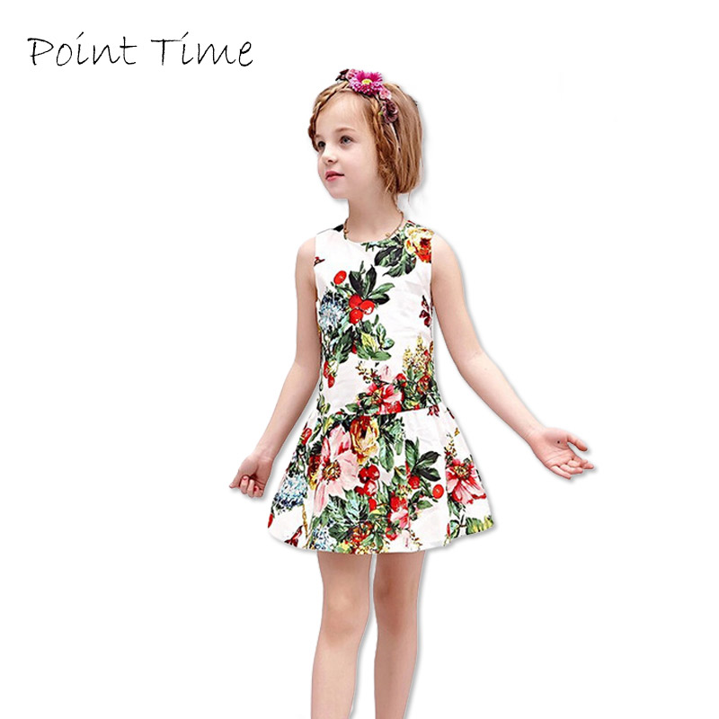 2017 New Gown Cute Princess Occasion White Backside Floral Print Ladies Summer season Attire Children Garments Lady Costumes Youngsters Clothes Attire, Low cost Attire, 2017 New Gown Cute Princess...