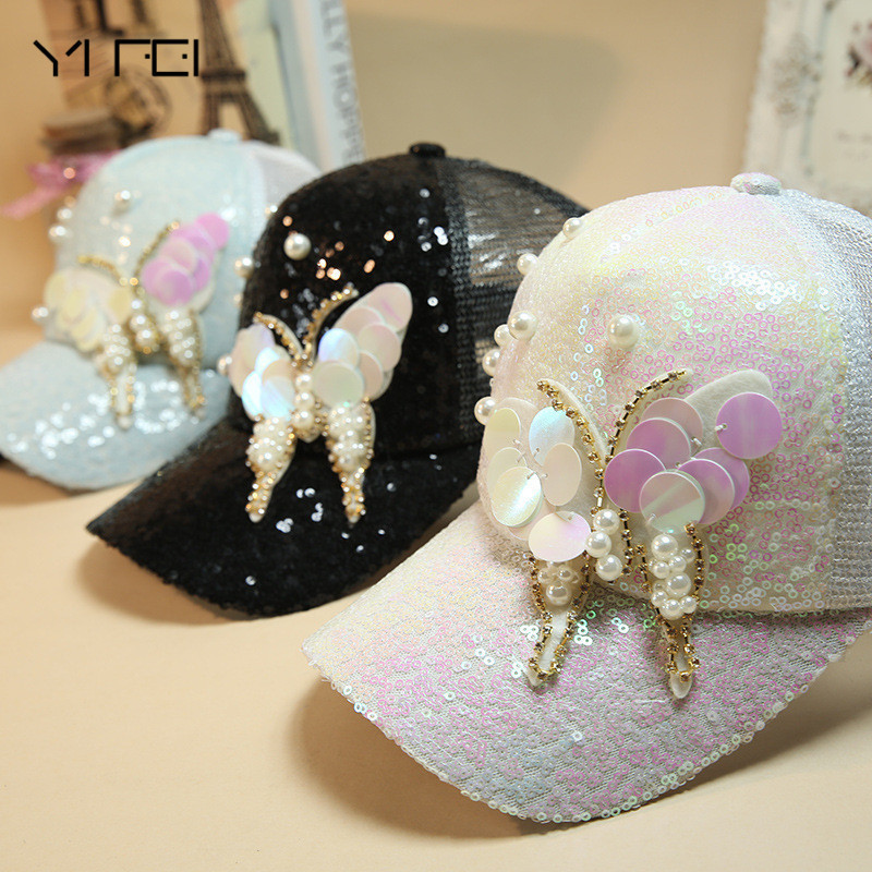 Luxury Women Baseball Cap Brand Bling butterfly Pearl Sequins Hip Hop Cap Vintage Snap Back Design Casual Snapback Hat New women cap skullies