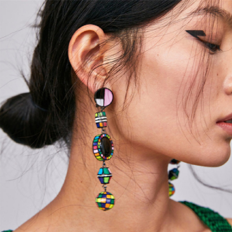 ZA Pendientes Drop Earrings Women Punk Round Earring Female 2019 Big Bohemian Best Lady Satement Vintage Beaded Earrings Jewelry
