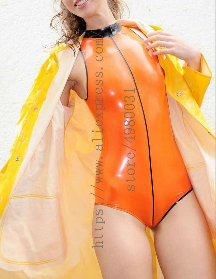 Orange latex leotard women's latex swimsuit with back zip with normal neck design