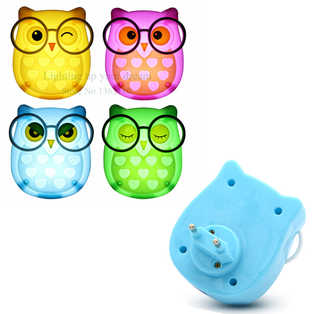 Animal Owl Led Night Light Soft Auto Light Sensor Control LED Sensor Night Lights New Year Child Baby Bedroom Lighting EU Plug