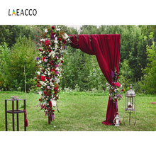 Laeacco Wedding Stage Flower Curtain Door Green Grass Ceremony Party Scenic Photo Backgrounds Photography Backdrop Photo Studio 10x10ft 3x3m scenic muslin backgrounds photography photo studio backdrops hand painted flower muslin backdrop wedding