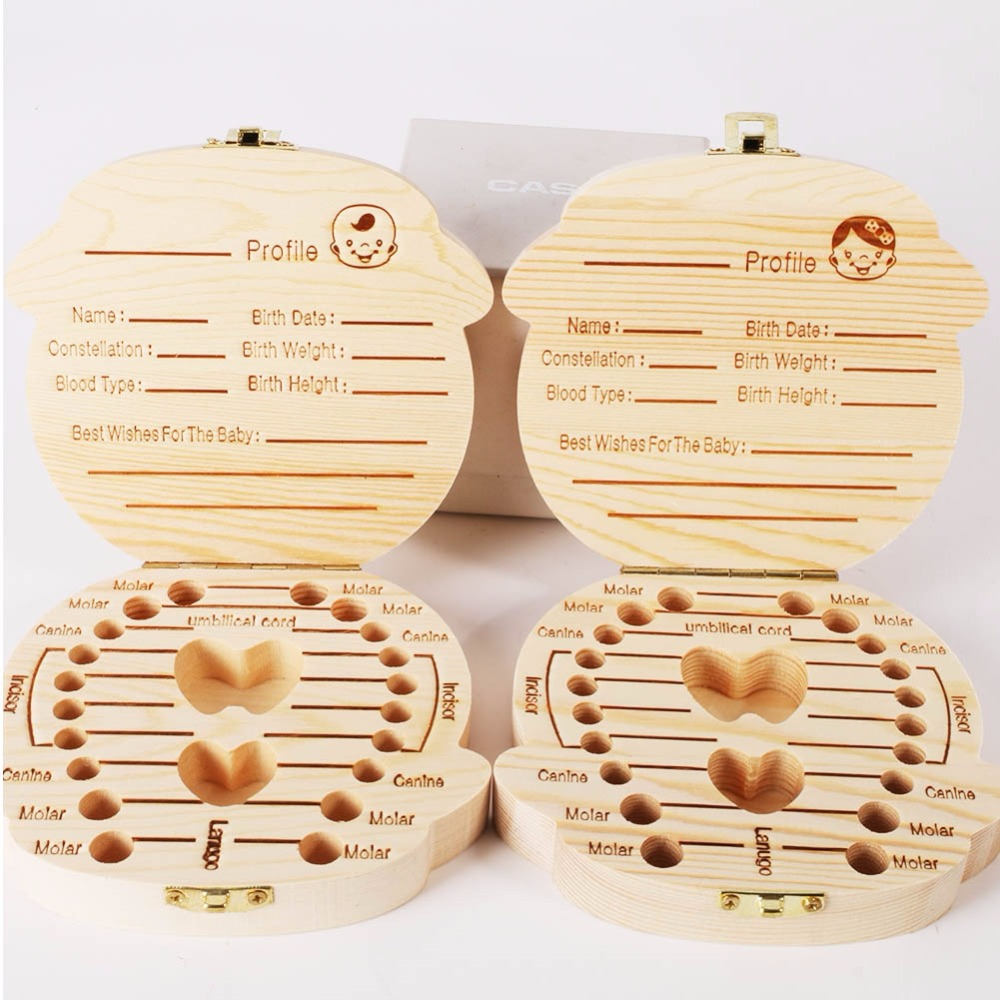 Spanish//English Wooden Baby Tooth Box Organizer Milk Tooth Storage Box for Boy Girl Save Teeth Umbilical Cord