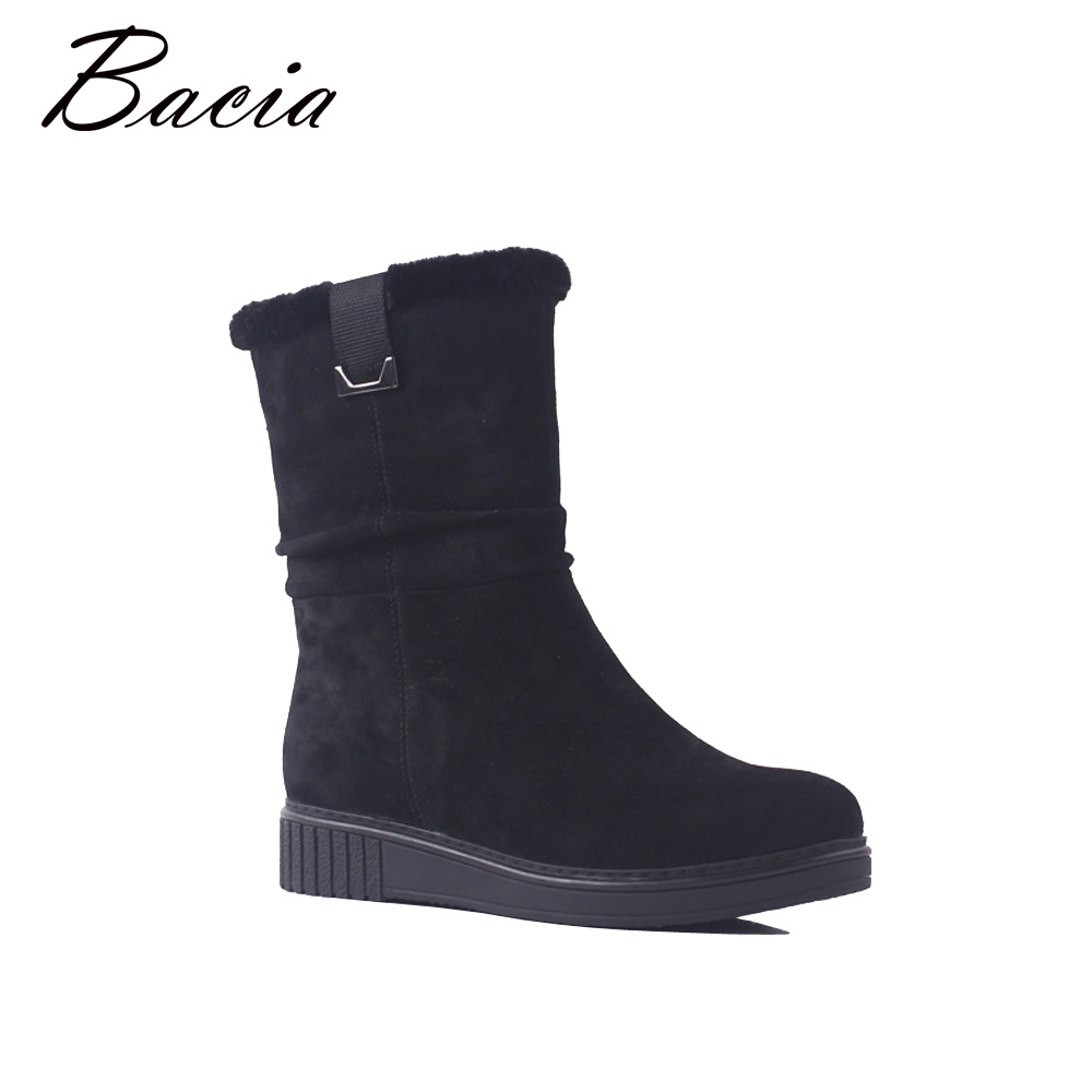 Bacia Genuine Leather Boots Woman Wedges Heels Round Toe Shoes 3.3cm Heels Black Sheep Suede Quality Winter Wool Fur Botas SB082