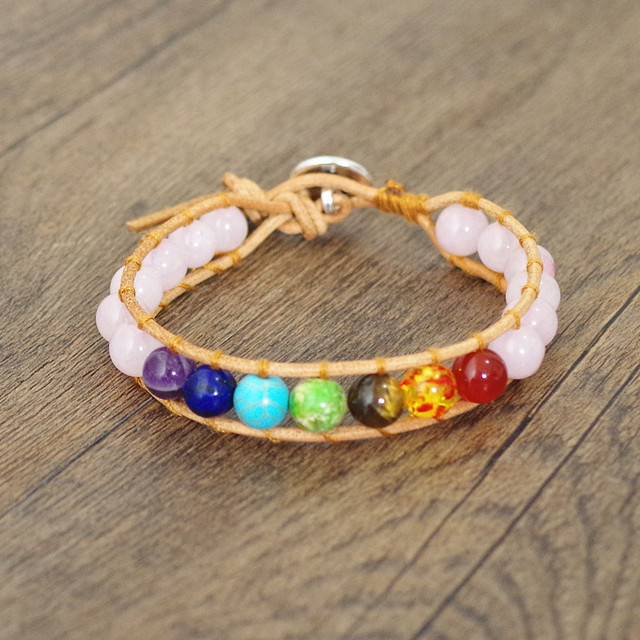 8mm Pink Crystal Beads 7 Chakra Leather Wrap Bracelet & Bangle Boho Yoga Chakra Charm Bracelet Gift Women Fashion Jewelry
