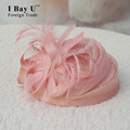 IBayU Flower Feather Flax Birdcage Veil Headpiece Head Veil 2017 Mini Wedding Bride Hat Vintage Wedding Bridal Hair Accessories