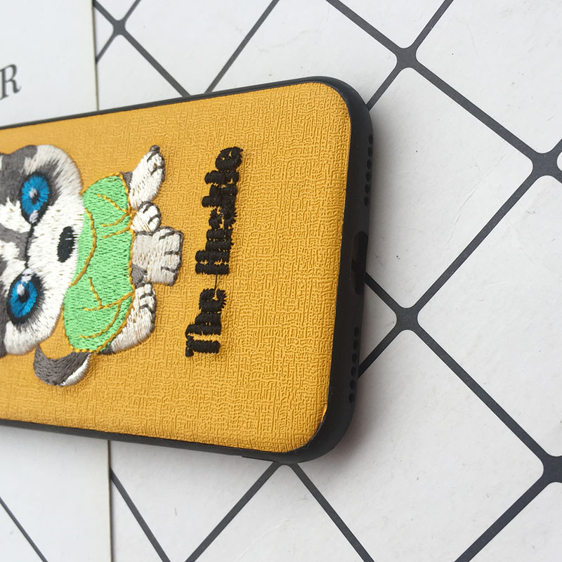 Tfshining Cute 3D Embroidery Cover Case For iPhone XS Max XR X 6 6s 7 8 Plus Soft Full Dog Teddy Pug Husky Dog Mobile Phone Case (12)