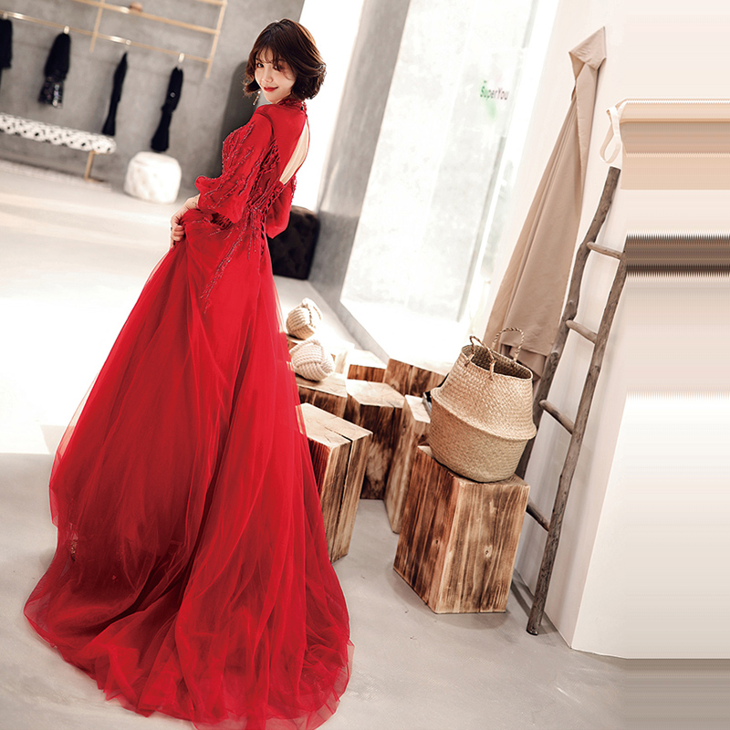 Evening Dresses Sexy Backless 2019 O neck Sling Prom Dress Long Plus Size Women Party Dresses Half sleeve Robe De Soiree E530 in Evening Dresses from Weddings Events