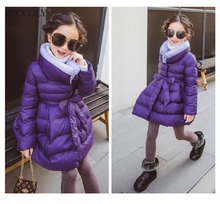 2017 Fashion Turtleneck Long Jackets For Girls Clothes Children Clothing  Winter Coat Thick Cotton Jacket Parka Kids clothes