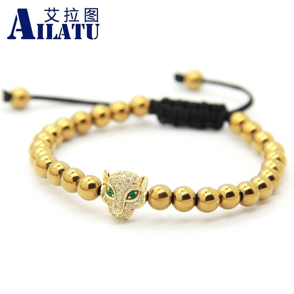 Ailatu CZ Leopard Head Braided Macrame Bracelet Wholesale 6 mm Brass Beads European American Weaving Jewelry