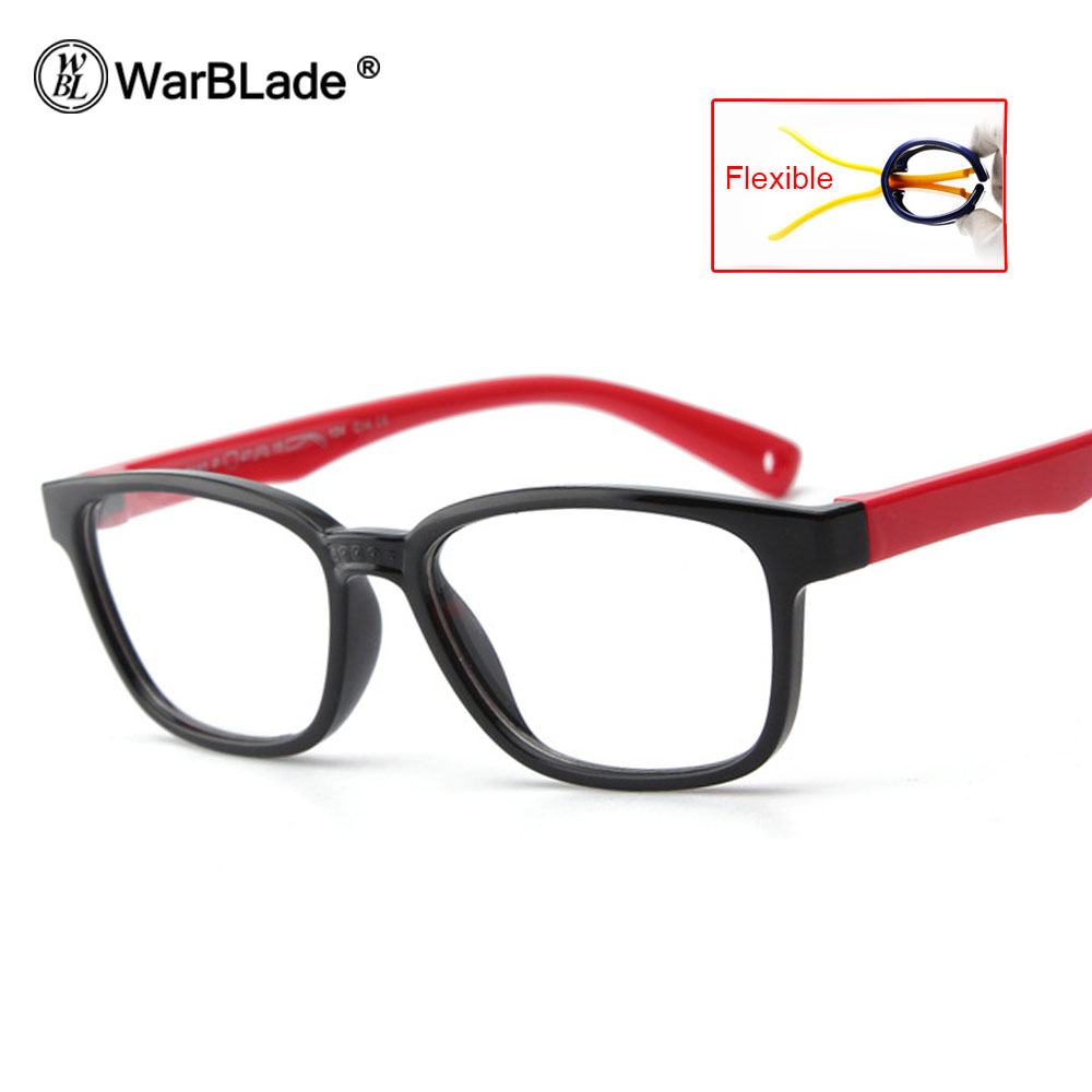 WarBLade TR90 Flexible Kids Eyeglasses With Lanyard Square Frame Glasses For Child Boys Girls Degree Myopia Optical Frames