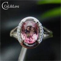 Классический розовый турмалин обручальное кольцо 6 мм * 8 мм 0,8 ct натуральный VS класса Турмалин серебряное кольцо серебро 925 турмалин ювелирн