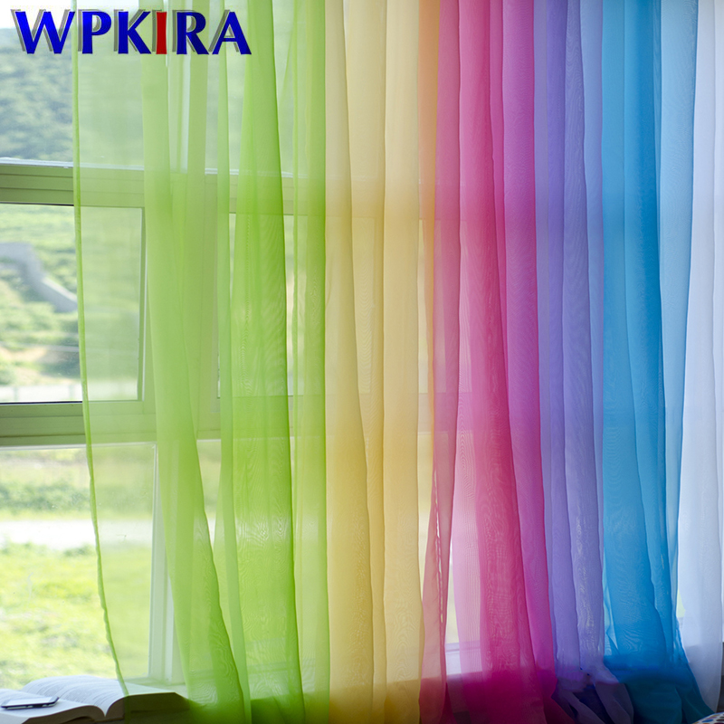European American Style Multicolor Bay Window Screening Solid Door Curtains Drape Panel Sheer Tulle For Living Room WP184#3-40
