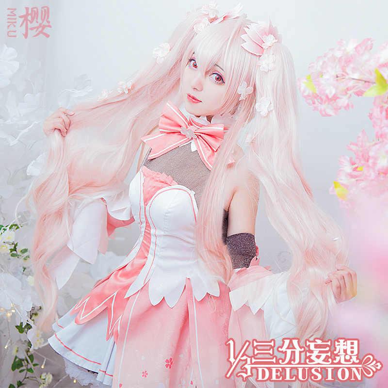 ミク Vocaloid V ミクコスプレ衣装さくらミクドレスハロウィーンカーニバルの女性高品質送料無料