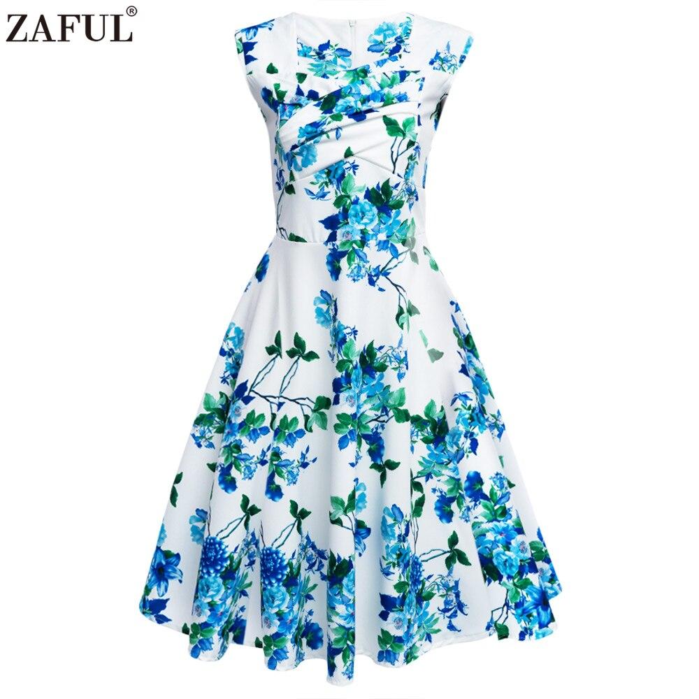 ZAFUL Vintage Rose Leaf Floral Dresses Women Retro Audrey 60s Prom ...
