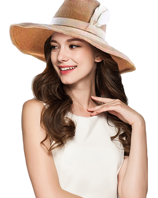 d332fbaee53aca Sprint Summer Hats For Women Retro Feather Sun Cap Vintage Wide-Brim Fedora  Hats Bowler Floppy Beach Hat Brown Elegant Straw Hat