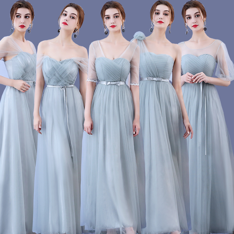 Sweet Memory Tulle Gray Sleeveless Long Bridesmaid Dresses a-Line Vestido  SW0035 Promotional price Clean 4aaeaa093099