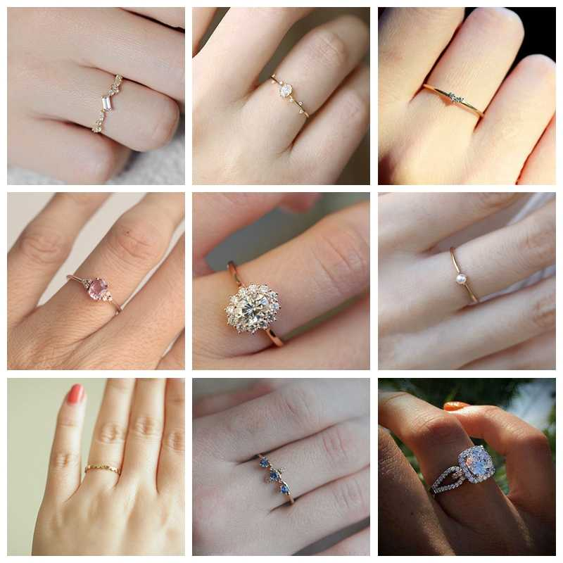 Delicate Classic Rhinestone Rings For Women CZ Female Wedding Engagement Romantic Love Rings Crystal Rings Fashion Jewelry Gifs