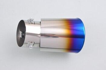 Per Dazzle Universale Mezza Burnt Blu tubo di Scarico Silenziatore Coda Suggerimento Tubo 58-70mm All'interno [QPA133]