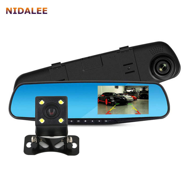 imágenes para NIDALEE Espejo Retrovisor Del Coche DVR Cámara de Doble lente Full HD 1080 P Grabador de Vídeo Registrator Registrador Dash Cam BlackBox Auto Veicular