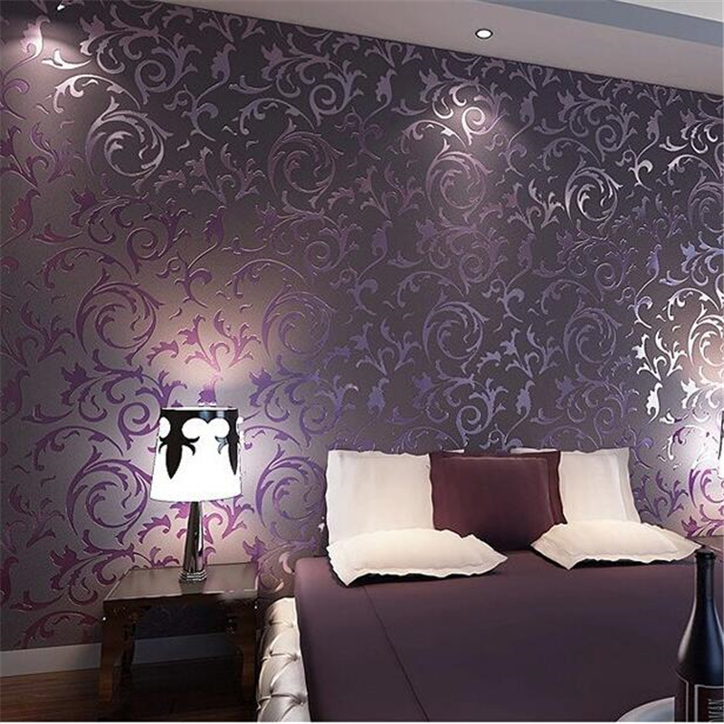 beibehang wallpaper High quality wallpaper 3D fashion papel de parede bedroom background desktop wall paper rolls White Purple