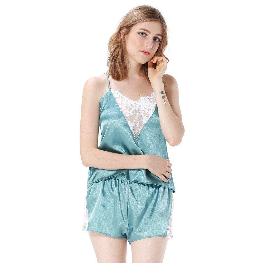 Halter Pajama Set Satin Pijama Soft Sleepwear Embroidery V-neck Nightwear Lace Camisole Short Homedress