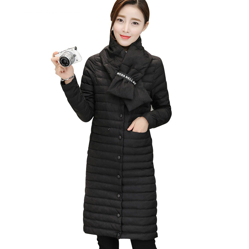 2017 Spring Winter Lightweight   Down     Coats   Women's   Down   Jackets New Fashion Female Outerwear With Scarf YR40