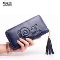 NAISIBAO Genuine Leather Bag Women Long Zipper Wallets Brand Fashion Embossed Women Purse Tassel Embossing Women