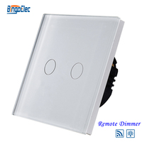 EU UK Standard 2gang 700W Touch Remote Dimmer Light Switch Glass Panel Touch Light Switch 220v