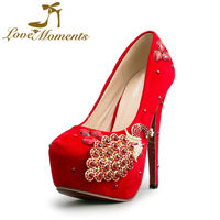 Love Moments Wedding Shoes Bridal Evening Party Crystal Red Bottom High Heels Women Shoes Sexy Women