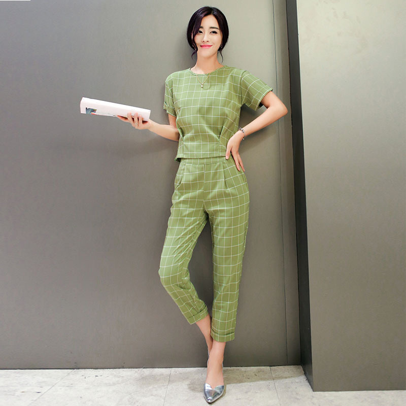 Elegant Trouser Suits for Ladies New 2016 Fashion Plaid Short ...