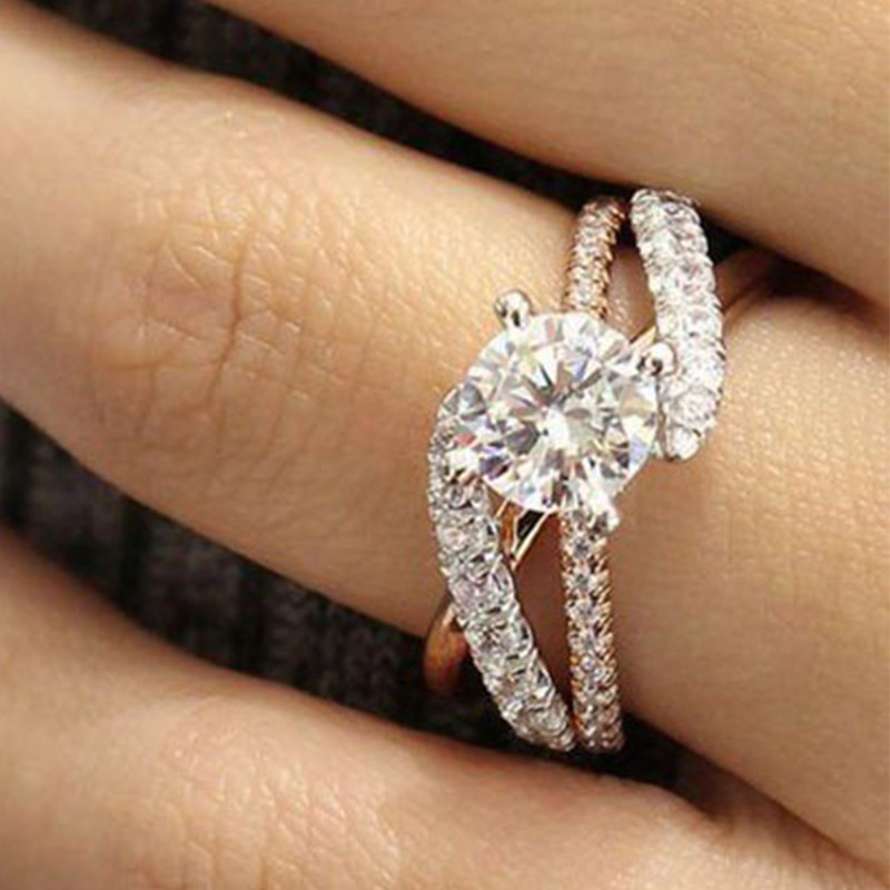 Beautiful Wedding Rings.Us 0 96 32 Off 2018 New 1pc Beautiful Wedding Jewelry Women Ladies Ring Girls Zircon Luxurious Crystal Gifts Fashion Rose Gold Engagement Rings In