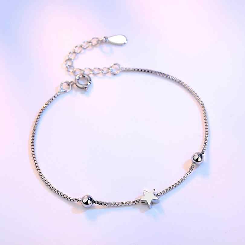 Baru Sederhana Fashion Square Bintang Manik-manik Kotak Chian Gelang & Gelang untuk Wanita 925 Sterling Silver Perhiasan Hadiah Pulseira SAB31