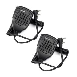 2x 2Pin PTT Speaker Mic Microphone for BAOFENG Retevis Kenwood TYT HYT+track NO