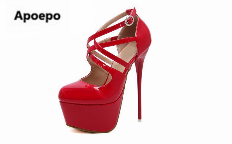Apoepo brand red black Patent leather women sandals gladiator party pumps sexy platform high heels shoes women summer stiletto apoepo brand 2017 zapatos mujer black and red shoes women peep toe pumps sexy high heels shoes women s platform pumps size 43