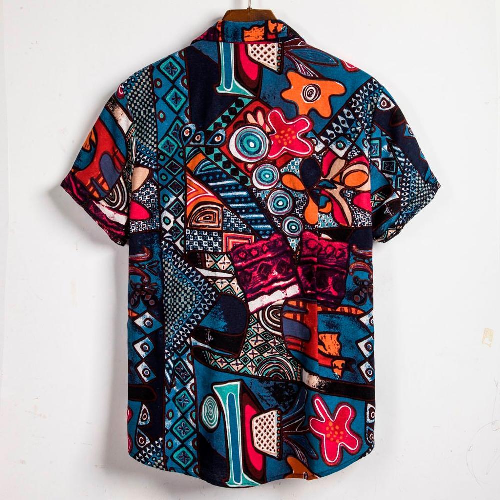 Men/'s Ethnic Short Sleeve Casual Cotton Linen Printing Hawaiian Shirt Blouse Top