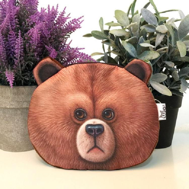 2016 coin purses wallet ladies 3D printing cats dogs animal big face change fashion cute small zipper bag for women 17*14cm striped travelling carrying bag for cats small