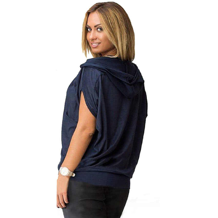 カジュアルブラウス女性フード付き半袖バットウィング女性は夏ショーツプラスサイズシャツ Camisas Mujer Blusa Chemisier ファム