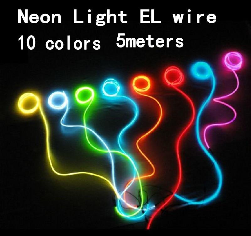 5 mt Flexible Neonlicht glühen El draht Seil band rohr + batterie ...