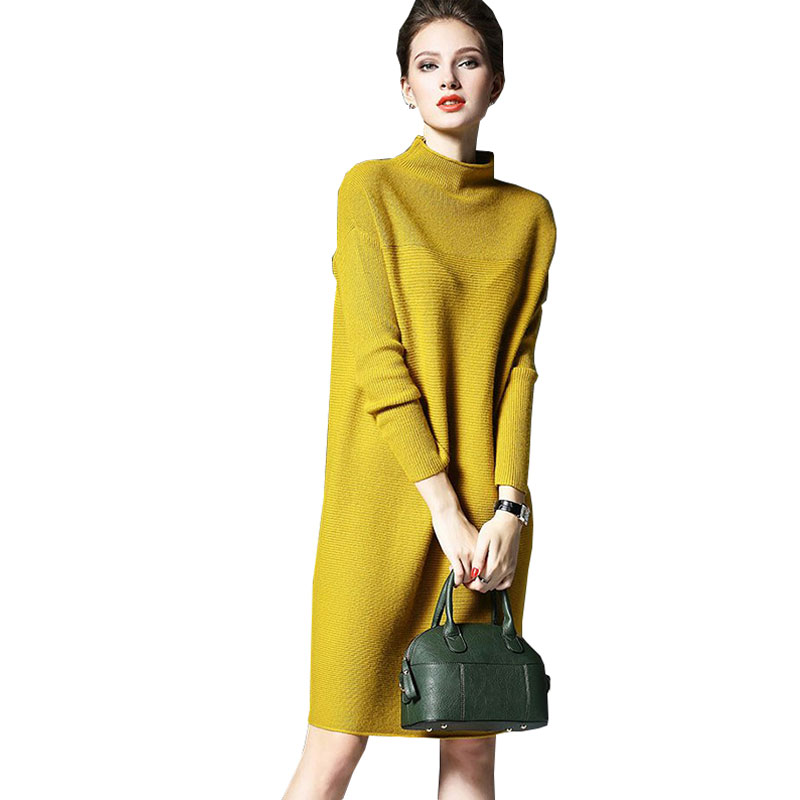 Plus size Pullover Half turtleneck Autumn Winter Sweater Dress Women 2018 New Ladies Knitted Long Maxi Dresses Vestidos Z385