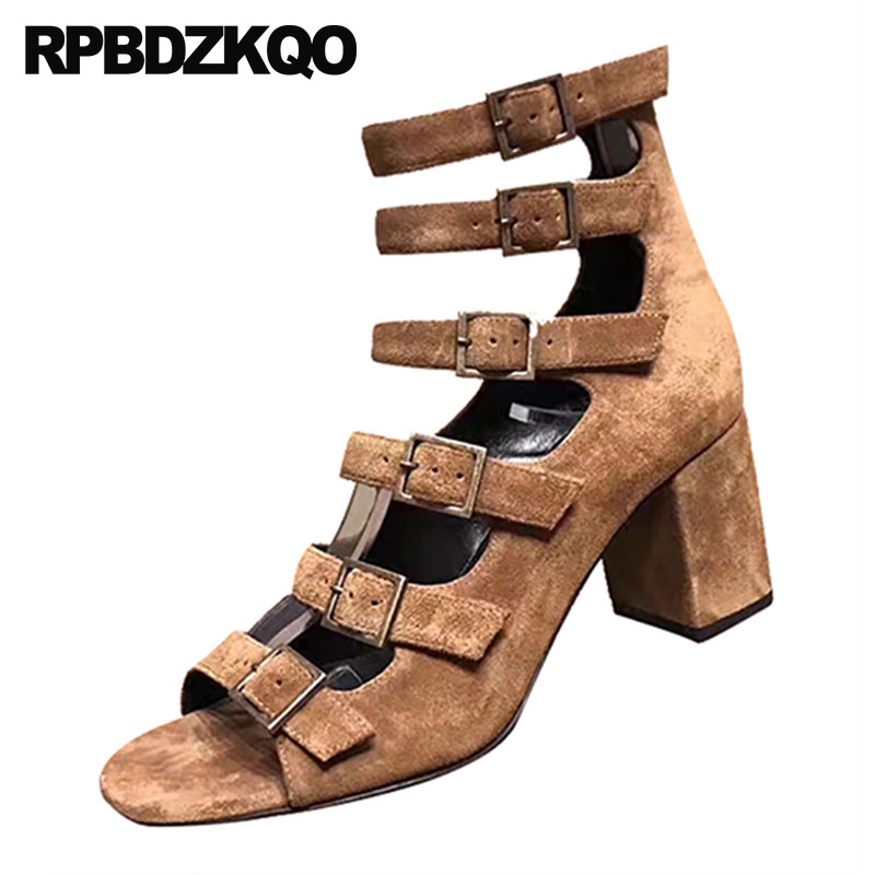 2263002304e9 Detail Feedback Questions about Strappy Strap Up Vintage Gladiator Sandals  Heels Women Chunky Roman Suede High Thick Pumps Square Summer Shoes Block  2018 ...