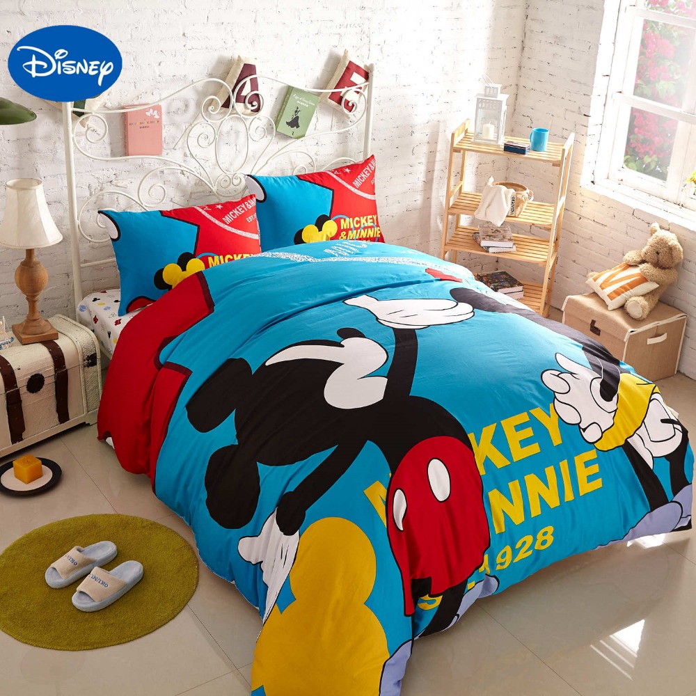 Blue Mickey Mouse Printed Bedding Sets For Childrenu0027s Boys Bedroom  Decoration Cotton Bed Cover Comforters Single Twin Queen King In Bedding  Sets From Home ...