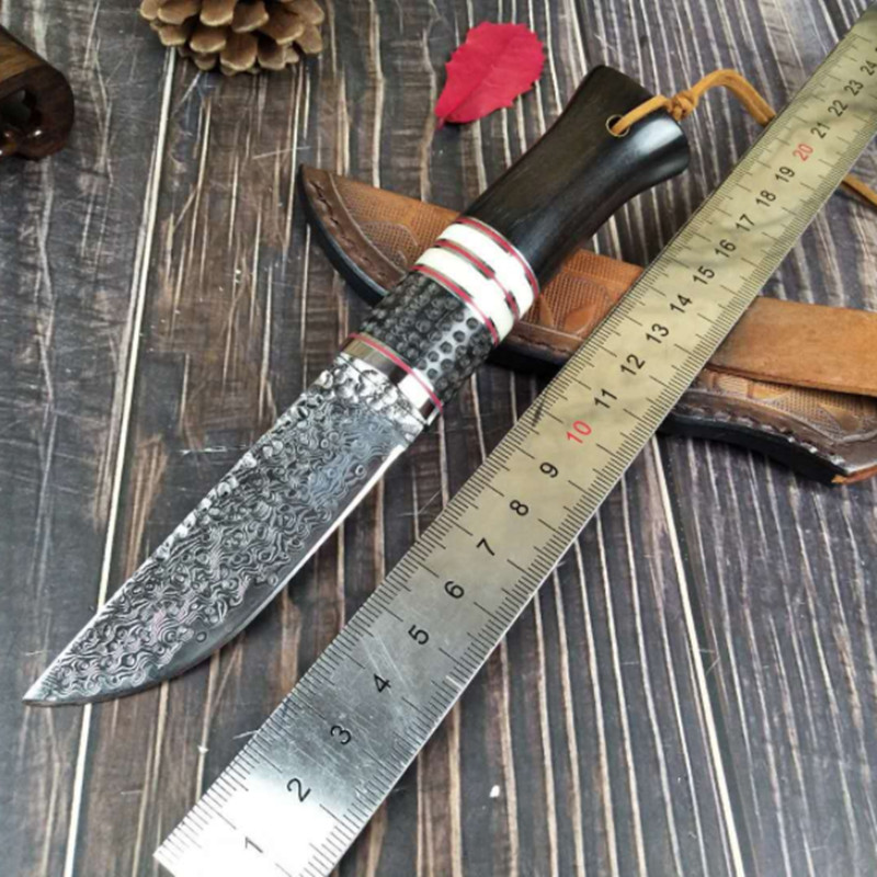 Handmade real Damascus steel hunting knife 58 HRC Damascus Steel camping fixed knife ebony handle with