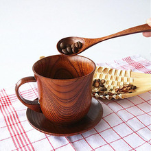 20set Japanese Style Natural Wood Cup+Saucer+Spoon Drinkware Set Coffee Cup Teacup Water Tea Cups Eco-friendly ZA5167