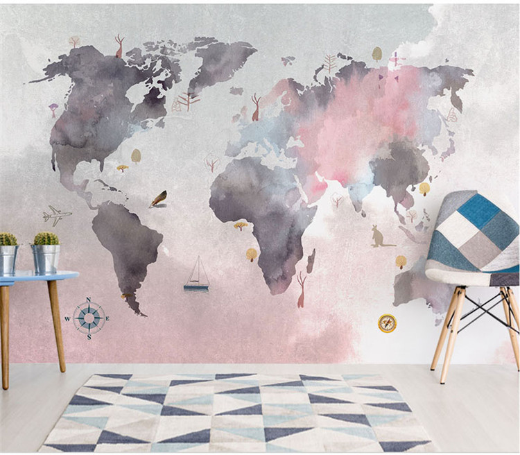 8d Paint Abstract World Map Wallpaper Mural For Baby Child Room
